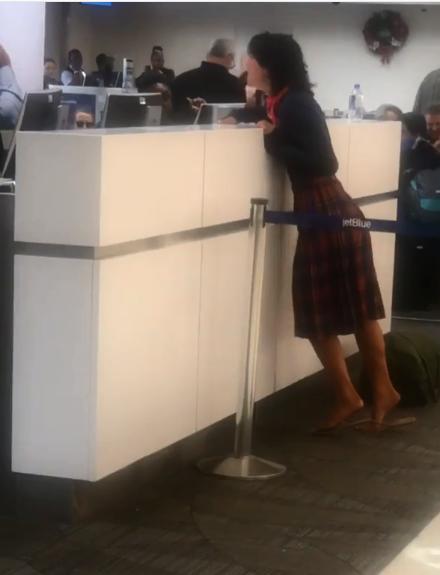 Crazy Lady Yells Rapist at Jet Blue Agent